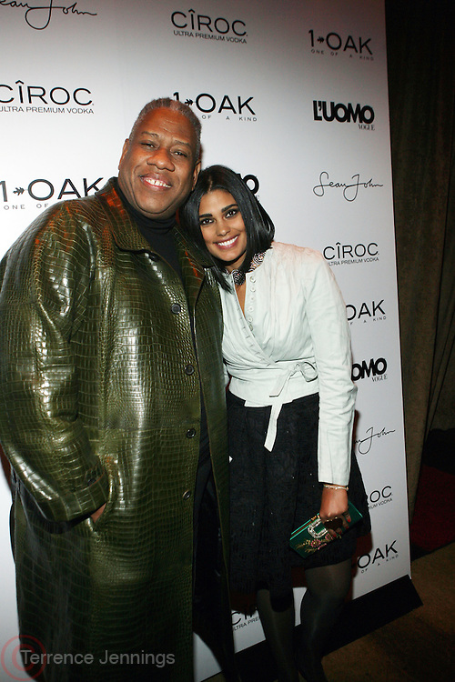 "l to r: Andre Leon Talley and Rachel Roy pictured at the cocktail party celebrating Sean ""Diddy"" Combs appearance on the "" Black on Black "" cover of L'Uomo Vogue's October Music Issue"