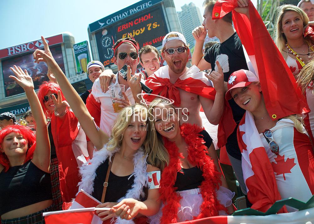 Canadian fans cheer their team on at the Hong Kong Stadium, Hong Kong on 28 March 2015. Photo by Ian Muir....during the Hong Kong Sevens 2015 match between ........... at Hong Kong Stadium, Hong Kong on 27 March 2015. Photo by Ian Muir.