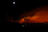 Fires burn on Palomar Mountian, California USA as seen on 24 October 2007. More than 500,000 people were evacuated from their homes in San Diego County due to wildfires that have engulfed Southern California since early Sunday morning