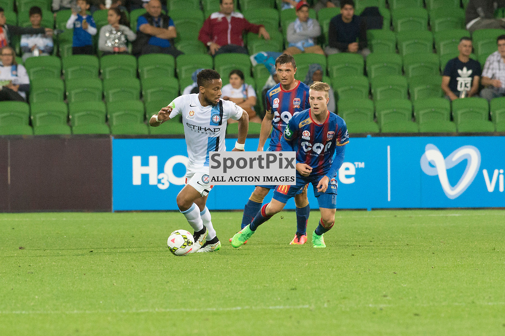 Harry Novillo (Melbourne City), Enver Alivodic (Newcastle Jets) , Andrew Hoole (Newcastle Jets) - Hyundai A-League, 14th March 2015, RD 21- match between Melbourne City FC v Newcastle Jets at Aami Park, Melbourne Australia. © Mark Avellino | SportPix.org.uk Final score City 4:0 Newcastle