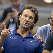 2019 US Open Tennis Tournament- Day Ten. Carlos Moya, coach of Rafael Nadal of Spain, during his match against Diego Schwartzman of Argentina in the Men's Singles Quarter-Finals match on Arthur Ashe Stadium during the 2019 US Open Tennis Tournament at the USTA Billie Jean King National Tennis Center on September 4th, 2019 in Flushing, Queens, New York City.  (Photo by Tim Clayton/Corbis via Getty Images)