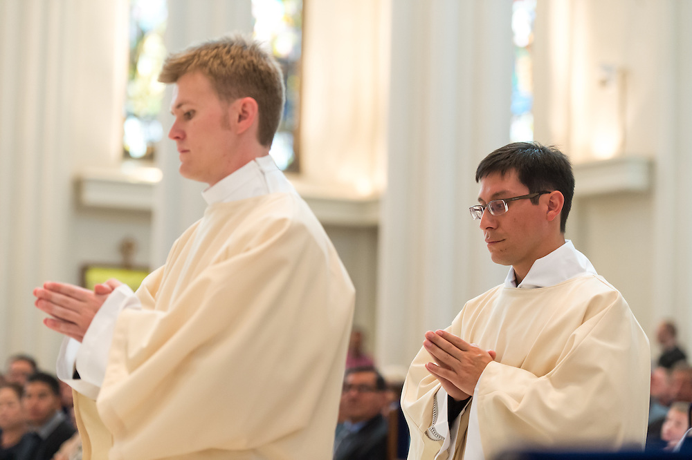 DENVER, CO - MAY 16: The Rev. Tomasz Strzebonski (L) and the Rev. Franklin Anastacio Sequeira Treminio (R) process during their ordination as priest for the Archdiocese of Denver at the Cathedral Basilica of the Immaculate Conception on May 16, 2015, in Denver, Colorado. (Photo by Daniel Petty/Denver Catholic Register)