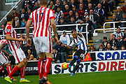 Newcastle United Forward Ayoze Perez just misses with the shot  during the Barclays Premier League match between Newcastle United and Stoke City at St. James's Park, Newcastle, England on 31 October 2015. Photo by Craig McAllister.