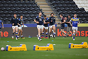 Leeds Rhinos warm up prior to  the Betfred Super League match between Hull FC and Leeds Rhinos at Kingston Communications Stadium, Hull, United Kingdom on 19 April 2018. Picture by Mick Atkins.