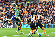Hull City goal keeper Davis Marshall (23) takes the ball from corner  during the Premier League match between Hull City and Chelsea at the KCOM Stadium, Kingston upon Hull, England on 1 October 2016. Photo by Ian Lyall.
