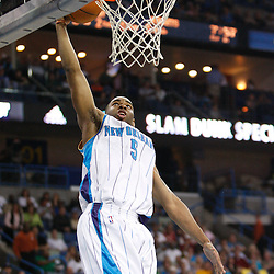 Mar 31, 2010; New Orleans, LA, USA; New Orleans Hornets guard Marcus Thornton (5) goes up for a dunk during the first half against the Washington Wizards at the New Orleans Arena. Mandatory Credit: Derick E. Hingle-US PRESSWIRE