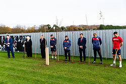 Marina Dolman, Doug Harman, Jamie McAllister, Lee Johnson, Mark Ashton, Dean Holden and Bailey Wright look on as Representatives of Bristol City take part in a ceremony to plant tree's in memory of the 7 Bristol City player's who lost their lives serving during WW1 - Rogan/JMP - 09/11/2018 - FOOTBALL - Failand Training Ground - Bristol, England.