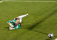 FC Dallas Keeper dives for a bal that narrowly missed his goal. The Colorado Rapids defeated FC Dallas 2-1 in overtime to earn their first league title.