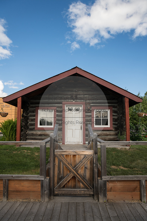 The Gould Cabin, an authentic frontier cabin built in 1908 and remains in the same location now Griffin Park in downtown Fairbanks, Alaska.