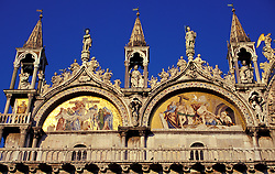 Venice, Italy: Detail of gold mosaics, high above the  left side of main entrance, Basilica di San Marco, in St. Mark's Square.