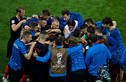 MOSCOW, RUSSIA - Wednesday, July 11, 2018: Croatia's head coach Zlatko Dalić speaks to his players after 90 minutes during the FIFA World Cup Russia 2018 Semi-Final match between Croatia and England at the Luzhniki Stadium. (Pic by David Rawcliffe/Propaganda)