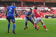 Birmingham City midfielder David Davis (26) and Barnsley FC midfielder Harvey Barnes (15) during the EFL Sky Bet Championship match between Barnsley and Birmingham City at Oakwell, Barnsley, England on 4 November 2017. Photo by Ian Lyall.
