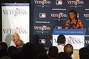 l to r: Dr. Jill Biden and First Lady Michelle Obama at The James J. Peters VA Medical Center Visit with First Lady Michelle Obama and Dr. Jill Biden, wife of Vice President Joe Biden, along with baseball officials visit the James J. Peters VA Medical Center in the Bronx as a show of support for veterans through the Welcome Back Veterans.