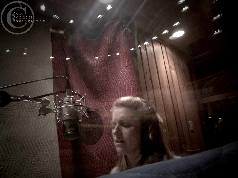New York, NY : Mar 17/18, 2011:.Julie Reiber in the vocal booth..---.Photo by Rob Bennett.