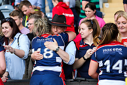 Bristol Ladies players are consoled by their friends and families in the stands after losing in the Play Off Final having finished the regular season top of the league - Rogan Thomson/JMP - 23/04/2017 - RUGBY UNION - Sixways Stadium - Worcester, England - Bristol Ladies Rugby v Aylesford Bulls - Women's Premiership Final.