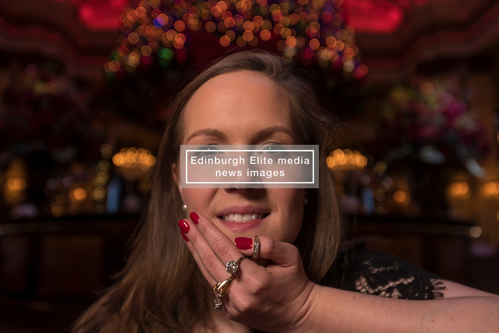 Five gold rings are included in Bonham's Christmas Jewellery Sale that takes place on 28 November 2017 at the auction house on 22 Queen Street.<br /> <br /> Nathalie Rodwell, Head of Jewellery wears five gold rings that will be included in the auction including a single stone 2.00 carat diamond ring estimated at £10,000 - £15,000. The money raised from the sale of these rings will be donated to Save The Children.