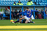 Carlisle United Forward Alex Gilliead  making a sliding tackle during the Sky Bet League 2 match between Carlisle United and Portsmouth at Brunton Park, Carlisle, England on 21 November 2015. Photo by Craig McAllister.