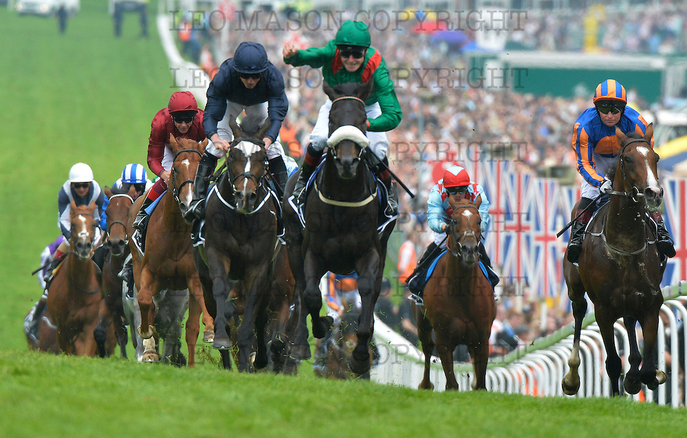 04.06.2016  Investec Derby Day Meeting at Epsom racecourse UK  The Investec Derby won by Harzand IRE ridden by Pat Smullen comes up to the winning post and celebrates his win<br /> Media Event ID: 640940787