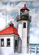 Alki Point Lightouse, Seattle, WA. Watercolor. ©JoAnn Hawkins.