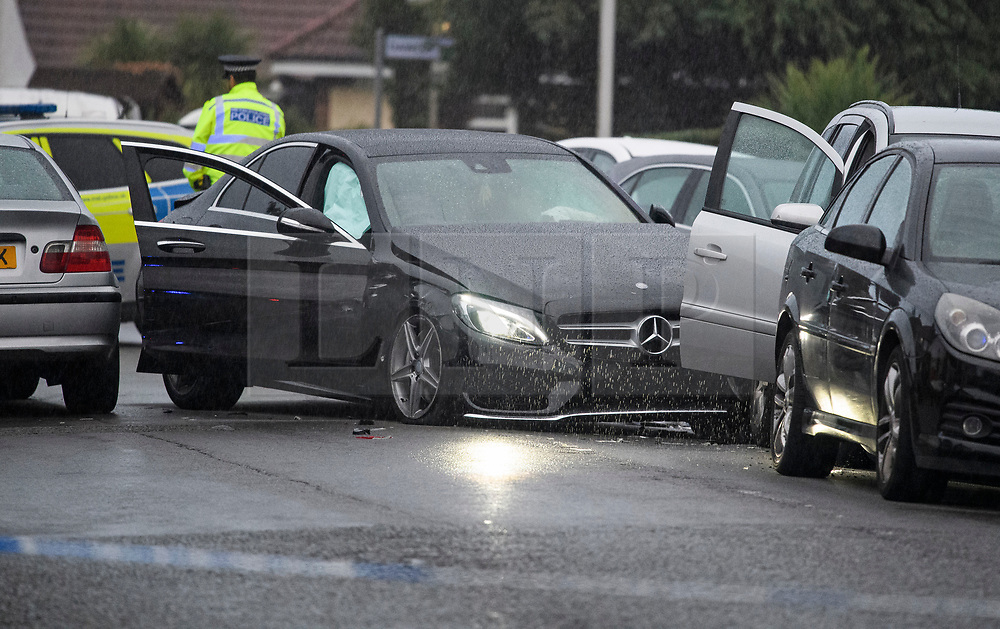 © Licensed to London News Pictures. 11/10/2018. London, UK.  A heavily damaged Mercedes car at the scene in Hayes where a man was found shot dead after the  car he was in collided with other vehicles near the Uxbridge Road in Hayes. The victim died at the scene.  Photo credit: Ben Cawthra/LNP