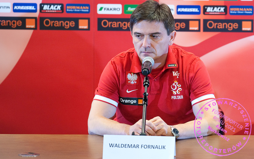 Waldemar Fornalik trainer coach of Polish national team during the press conference one day before friendly soccer match between Poalnd and South Africa at National Stadium in Warsaw on October 11, 2012...Poland, Warsaw, October 11, 2012..Picture also available in RAW (NEF) or TIFF format on special request...For editorial use only. Any commercial or promotional use requires permission...Photo by © Adam Nurkiewicz / Mediasport