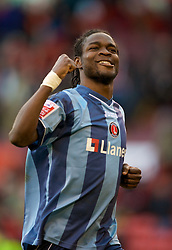 SHEFFIELD, ENGLAND - Saturday, March 1, 2008: Charlton Athletic's Sam Sodje celebrates his side's 2-0 victory over Sheffield United during the League Championship match at Bramall Lane. (Photo by David Rawcliffe/Propaganda)