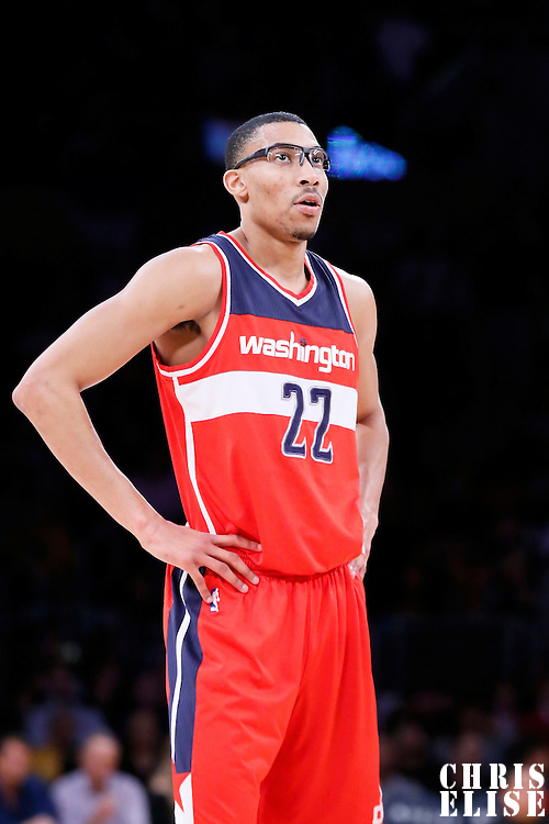 27 January 2015: Washington Wizards forward Otto Porter Jr. (22) rests during the Washington Wizards 98-92 victory over the Los Angeles Lakers, at the Staples Center, Los Angeles, California, USA.