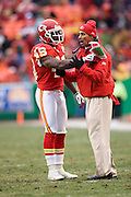 KANSAS CITY, MO - DECEMBER 14:   Head Coach Herm Edwards of the Kansas City Chiefs talks with Bernard Pollard #49 on the field during a game against the San Diego Chargers on December 14, 2008 in Kansas City, Missouri.  The Chargers defeated the Chiefs 22-21.  (Photo by Wesley Hitt/Getty Images) *** Local Caption *** Herm Edwards; Bernard Pollard