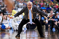 GLENDALE, AZ - APRIL 01: Head coach Roy Williams of the North Carolina Tar Heels reacts to a play during the 2017 NCAA Men's Final Four Semifinal against the Oregon Ducks at University of Phoenix Stadium on April 1, 2017 in Glendale, Arizona.  (Photo by Brett Wilhelm/NCAA Photos via Getty Images) *** Local Caption *** Roy Williams