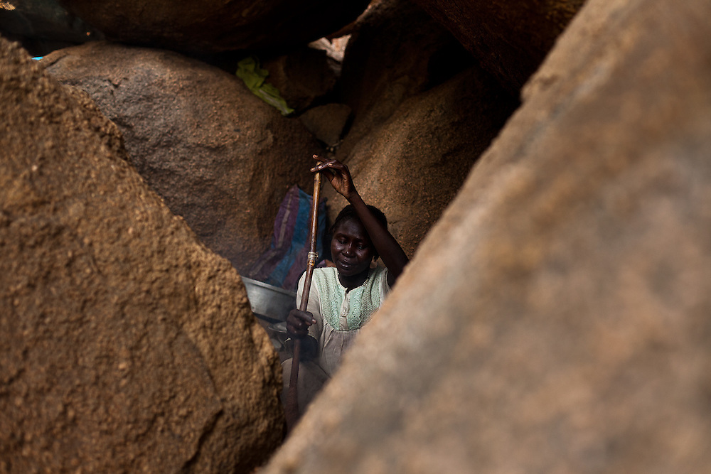 Familes displaced by bombing and fighting live in caves near Dalami after SAF bombing forced them to flee to caves for protection. Thousands of people have fled to caves to live after repeated bombing attacked by Sudan government forces on civilians areas.