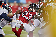 Atlanta Falcons running back Brian Hill (23) during the Pro Football Hall of Fame Game at Tom Benson Hall of Fame Stadium, Thursday, Aug. 1, 2019, in Canton, OH. The Broncos defeated the Falcons 14-10. (Robin Alam/Image of Sport)