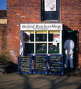 Small village butcher shop, Orford, Suffolk, England