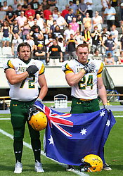 10.07.2011, Tivoli Stadion, Innsbruck, AUT, American Football WM 2011, Group A, Mexico (MEX) vs Australia (AUS), im Bild James Gifford (Australia, #72, OL) and Ryan Ottens (Australia, #24, LB) during the national anthem // during the American Football World Championship 2011 Group A game, Mexico vs Australia, at Tivoli Stadion, Innsbruck, 2011-07-10, EXPA Pictures © 2011, PhotoCredit: EXPA/ T. Haumer