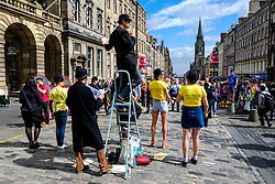 Edinburgh Scotland 7th August 2016 :: Performers from Fringe shows entertain in the High Street to promote their shows.<br /> <br /> Pictured: members of the cast of Twelfth Night.<br /> <br /> (c) Andrew Wilson | Edinburgh Elite media