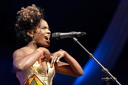 Cheltenham Jazz Festival, Cheltenham, United Kingdom, Noisettes, perform in the BIg Top at Cheltenham Music Festival, The lineup of the band consist of singer and bass player Shingai Shoniwa, drummer Jamie Morrison and guitarist Dan Smith, Saturday 04 May, 2013, Photo by: i-Images