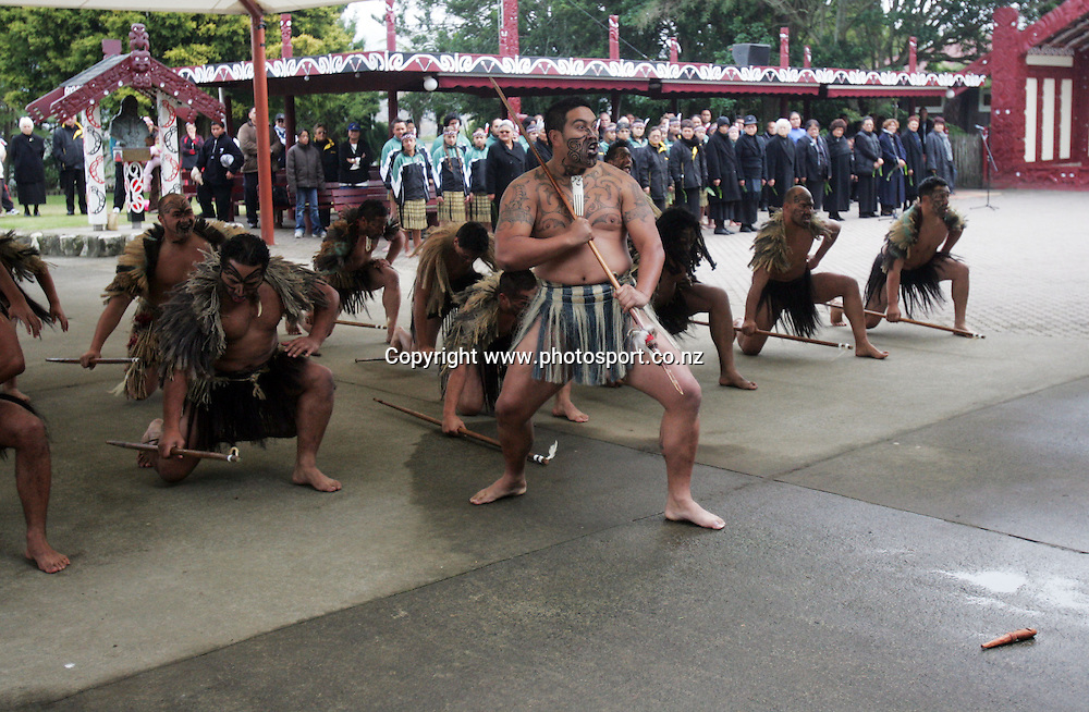 Maori Warriors perform for the Lions at the Taurangawaewae Marae in Ngaruawahia, New Zealand on Saturday June 11, 2005. The Lions play the NZ Maori team tonight in Hamilton. Photo: Hannah Johnston/PHOTOSPORT
