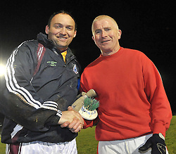 Shrule-Glencorrib's goalie David Walsh and Padraig Flannery from Garrymore shake hands after the match at the South Mayo Junior B final.<br /> Pic Conor McKeown
