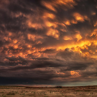 Mammatus at sunset over the Red River Valley of North Texas.