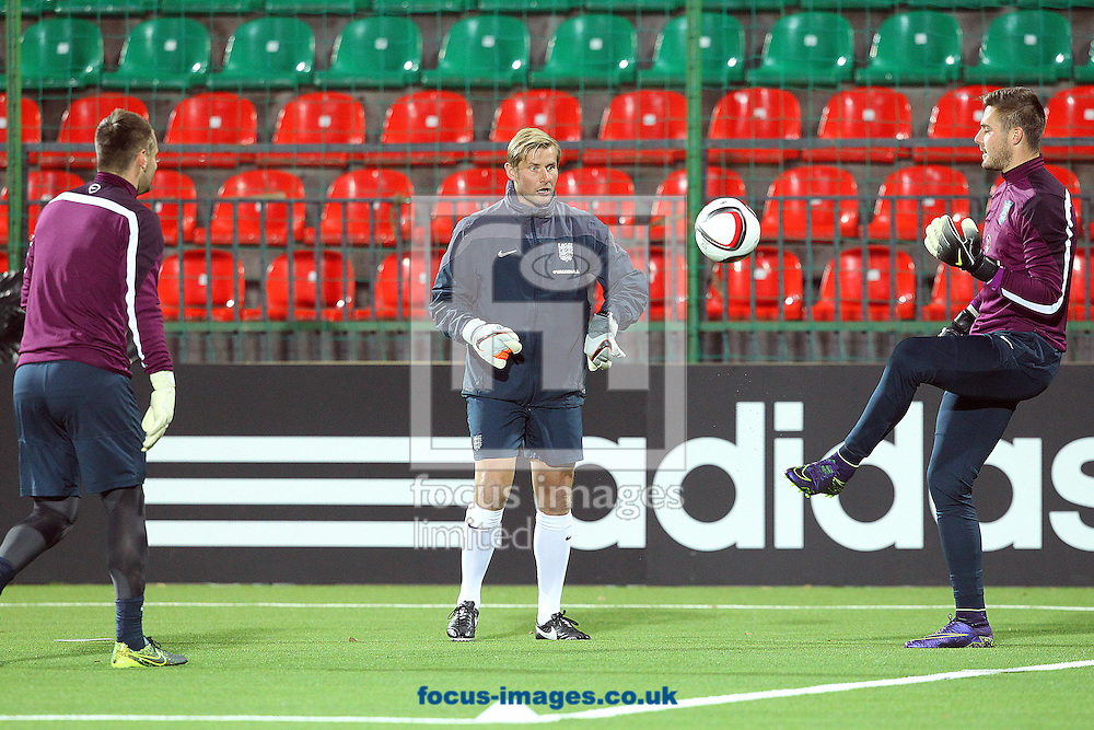 Jack Butland of England during training at LFF Stadium, Vilnius<br /> Picture by Paul Chesterton/Focus Images Ltd +44 7904 640267<br /> 11/10/2015
