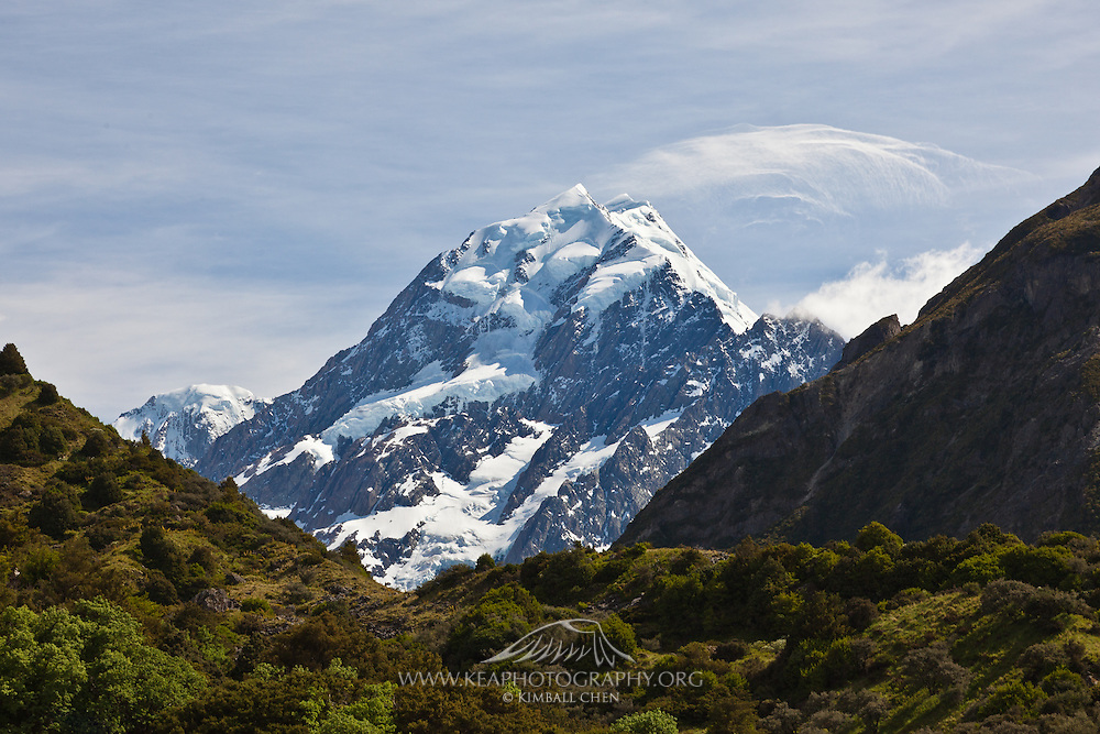 Strong wind blowing snow off the peak of Mount Cook, New Zealand