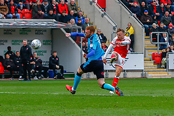 David Ball of Rotherham United shoots at goal - Mandatory by-line: Ryan Crockett/JMP - 07/04/2018 - FOOTBALL - Aesseal New York Stadium - Rotherham, England - Rotherham United v Fleetwood Town - Sky Bet League One