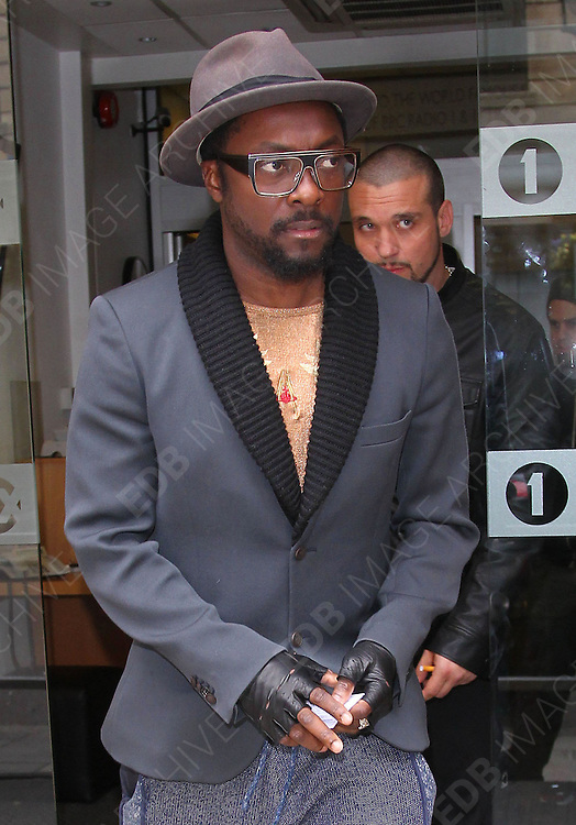 14.MAY.2012. LONDON<br /> <br /> WILL.I.AM LEAVING THE BBC RADIO 1 STUDIOS IN CENTRAL LONDON<br /> <br /> BYLINE: EDBIMAGEARCHIVE.COM<br /> <br /> *THIS IMAGE IS STRICTLY FOR UK NEWSPAPERS AND MAGAZINES ONLY*<br /> *FOR WORLD WIDE SALES AND WEB USE PLEASE CONTACT EDBIMAGEARCHIVE - 0208 954 5968*