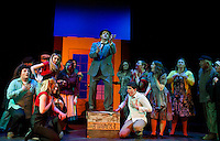 Scott Alward as Max Bialystock with the cast during Act 1 of dress rehearsal for The Producers with the Streetcar Company at Interlakes High School on Monday evening.   (Karen Bobotas/for the Laconia Daily Sun)