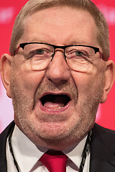 © Licensed to London News Pictures . 25/09/2017. Brighton, UK. Unite's LEN MCCLUSKY speaks at The Labour Party Conference at The Brighton Centre . Photo credit: Joel Goodman/LNP
