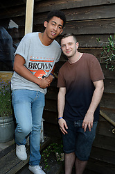Left to right, JORDAN STEPHENS and PLAN B (Ben Drew) attending the Warner Bros. & Esquire Summer Party held at Shoreditch House, Ebor Street, London E1 on 18th July 2013.