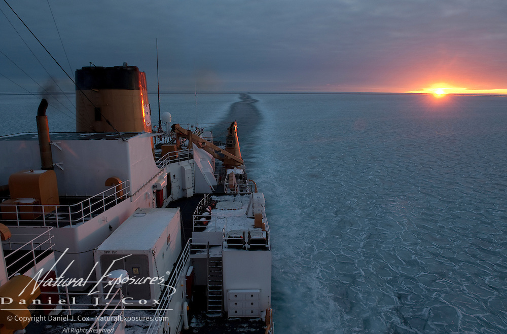 Sunrise seen from the icebreaker Polar Sea. Beaufort Sea