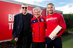 Terry Hamlin, Mike Adams of the Suppoerters Club & Trust with Andreas Weimann and the Champagne Moment award - Ryan Hiscott/JMP - 25/04/2019 - PR - Failand - Bristol, England - Bristol City End of Season Awards