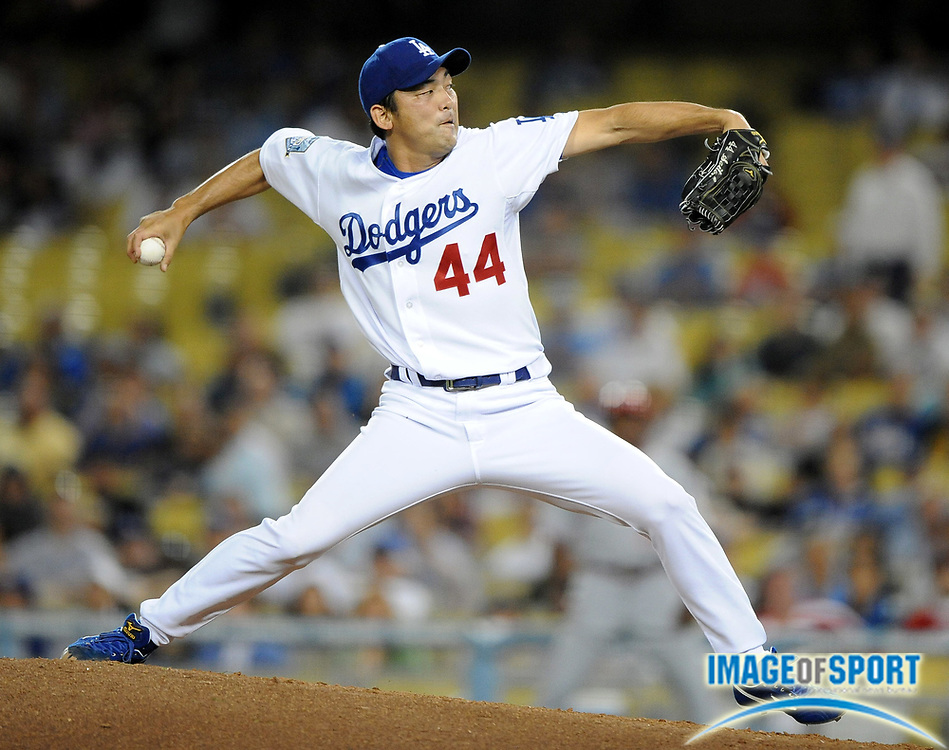 May 19, 2008; Los Angeles, CA, USA; Los Angeles Dodgers reliever Takashi Saito (44) pitches in the ninth inning of 6-5 victory over the Cincinnati Reds at Dodger Stadium.