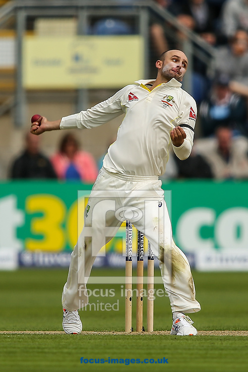Nathan Lyon of Australia in delivery stride during the Investec Ashes Series Test Match at Sophia Gardens, Cardiff<br /> Picture by Andy Kearns/Focus Images Ltd 0781 864 4264<br /> 08/07/2015