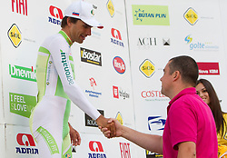 Winner Vrecer Rober (SLO) of Perutnina Ptuj and Rudolf Skobe of Najdi d.o.o. at flower ceremony after the Individual Time Trial prologue (6,6km) at 18th Tour de Slovenie 2011, on June 16, 2011, in Ljubljana, Slovenia. (Photo by Vid Ponikvar / Sportida)